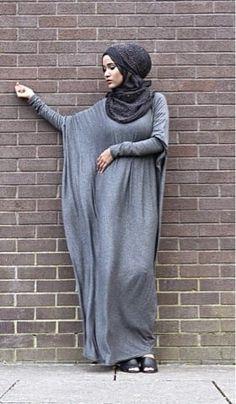 Winter Batwing Abaya Warm Jersey Maxi Dress Wool Blend Jilbaya Hijab