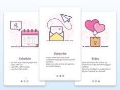 "Onboarding ""How it works"" Women's product designed by Laura Reen. App Ui Design, Mobile App Design, User Interface Design, Game Design, Icon Design, Web Design, Mobile Ui, Flat Design, Design Thinking"