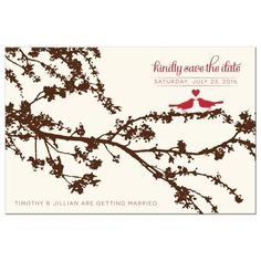 Save the Date Postcards - Treetop Love Birds Red