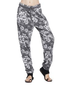 Love this Gray & White Floral Harem Pants by Mono B on #zulily! #zulilyfinds