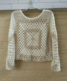 granny square crochet crop top long sleeves: