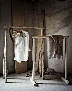 natural wood clothing rack, I have access to a lot of wood..this might be most cost effective.