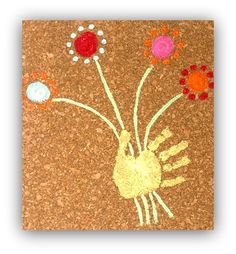 Fun Kids Handprint Art on Cork