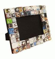 Recycled magazine photo frame
