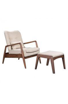 100536 - Bully Lounge Chair & Ottoman Beige