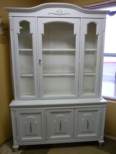 Painted white china cabinet