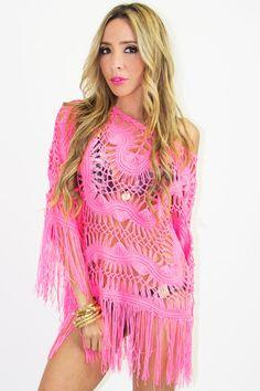 CROCHET PONCHO - Neon Pink