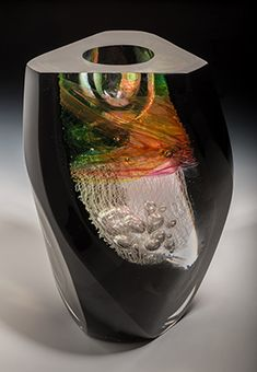 "Jon Goldberg- ""Geode ten"" blown, coldworked glass"