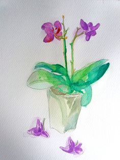 Orchid Watercolor Painting on Paper - Orchid drawing