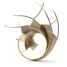 Brooch | Will Evans. 'Fibonacci' 18ct Gold (Yellow), 18ct white gold and 24ct Gold