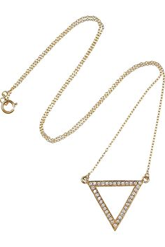 Halleh   gold diamond triangle necklace