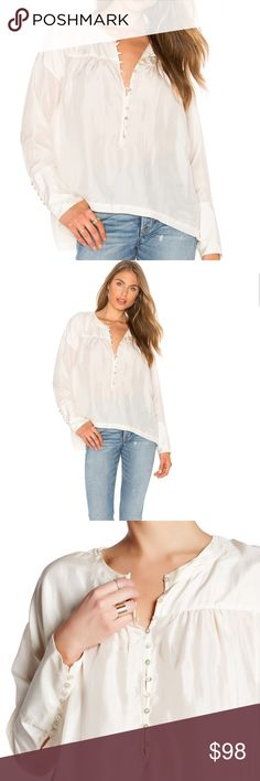 Free People silk blouse Long sleeves with hook-and-loop button cuffs, split hem, 100% silk, cream / off white color Free People Tops Blouses