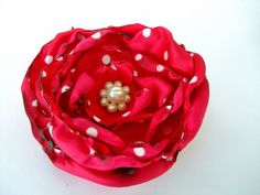 Bridal Hair Flower, Red with white polka dots flower, Dance Recital, gifts for her, gifts under 15, black Friday, cyber Monday, retro ring