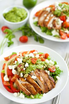 Sometimes when I'm developing a recipe I get a little carried away and out of control! This Fajita Salad is definitely one of those cases - I had to reign it in and simplify things a bit. It started off innocently enough with the idea for all the fajita fixins over a salad, but pretty soon ...