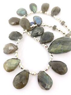 Labradorite Teardrop Beaded Gemstone Necklace, Grey Jewellery, Bib Fringe Jewelry, Semi Precious Natural Stone, Gift for Her by PreciousHCJewellery on Etsy