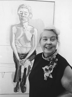 Alice Neel (American: 1900-1984) - Alice Neel pictured in 1970 with her portrait of her friend Andy Warhol (Getty) Famous Artists, Great Artists, Tamara Lempicka, Francoise Gilot, Dark Star, Portraits, Museum Of Fine Arts, Figure Painting, Artist At Work