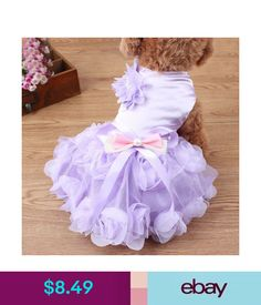 7e95aae5eeb Rose Pearl Princess Dog Wedding Dress Summer Party Tutu Skirt For Small Pet  Cat  ebay