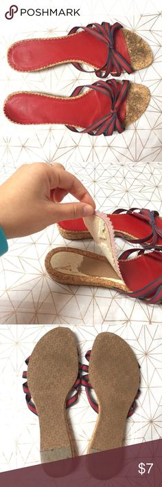 GAP red and blue cork sandals - Size: 10 - Condition: used - the lining is peeling as shown but could be easily fixed with some hot glue or other glue - Color: red, blue and cork - Closure: slip on - Style: sandals - Pair with:  - Extra notes: GAP Shoes Sandals