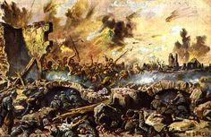 Slag aan de Somme;  De slag aan de Somme was een strijd tussen Duitsland en Engeland. Bij deze veldslag kwamen miljoenen soldaten om. Duitsland kwam in de tweefrontenoorlog en kon geen kant op. Duitsland besloot zich in te graven. Zo is de loopgraven oorlog ontstaan. De meeste aanvallen werden blind uitgevoerd want zodra je uit je loopgraf kwam werd je neergeschoten.