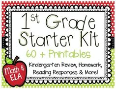 This first grade back to school packet includes more than 60 printables for the beginning of the year in math, reading, and writing. Use for assessment and practice, or plan lessons based on these worksheets.   The packet is divided into 6 major sections: Math, ELA, Homework, Problem of the Day, Getting Acquainted, and Reading Responses.