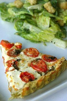 Tomato Mozzarella Tart with a Basil Garlic Crust