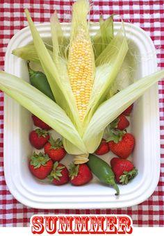 Taste Summer! Corn and Strawberries on Red Gingham | FamilyFreshCooking.com © MarlaMeridith.com