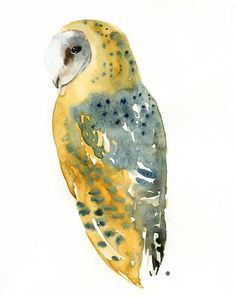owl watercolor | BARN OWL Original watercolor painting 8x10inch (Vertical orientation)