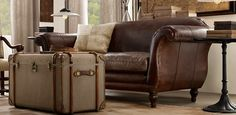 Restoration Hardware, Regency Collection leather sofa in cognac or chestnut.  Classy and comfortable.