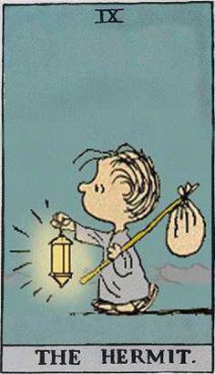 The Hermit Tarot, Tarot Astrology, Tarot Card Meanings, Bd Comics, Charlie Brown And Snoopy, Tarot Readers, Major Arcana, Snoopy And Woodstock, Johnny Cash