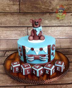 Cute teddy christening cake