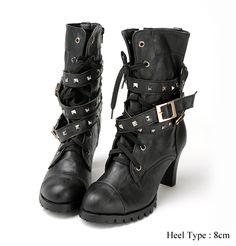 Womens Punk Rocker Studded Belt Boots