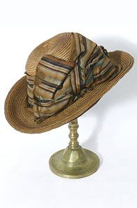 Straw sporting hat, c.1890. The jaunty, rolled brim gives the hat a strong presence and makes a great display.