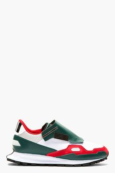 RAF SIMONS Green Leather & Canvas ADIDAS Edition Sneakers