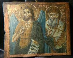 ICONE RUSSE XVIIIe XIXème a identifier Ancienne Peinture sur bois signatures