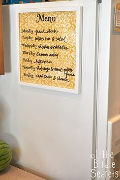 "Magnetic dry erase Menu or To Do List board. I don't hang anything on my fridge (ever), but I may let this one slide! SO easy, SO fast and very cute. The low cost would make a cute ""anytime"" gift for a girlfriend or your sister, too."