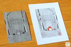 Image d'un kitsune sous un torii avec la technique du Tetra-Print, de la gravure sur Tetra Pak et plaque de Tetra Brick gravée de l'artiste www.joranne.com