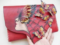Monarch Butterflies purse Red clutch with by spiculdegrau on Etsy