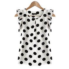 Women Casual Summer Chiffon Blouse Short Sleeve Shirts T-shirt Fashion Tops S-XL Chiffon Shirt, Chiffon Tops, White Chiffon, Sleeveless Tops, Chiffon Ruffle, Print Chiffon, Elegantes Outfit Damen, Outfit Chic, Polka Dot Blouse