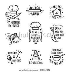 879cd2eb Hand Drawn Kitchen Posters Set Quotes stockvector (rechtenvrij) 617992001
