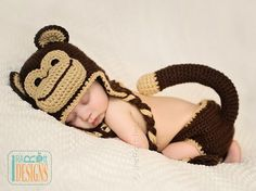 Chimpanzee Monkey Animal Hat and Diaper Cover Crochet Pattern for Babies by IraRott
