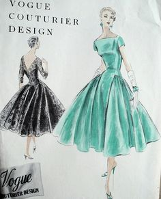 Vogue Couturier 862, ca 1955; Sz 14/Bust 32; Reissued as Vogue Couturier 980