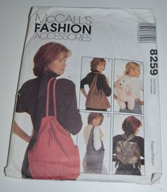McCalls 8259  Fashion Accessories Sewing by DestinedRendezvous, $4.01