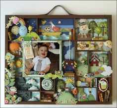 adorable baby-themed scrapbook tray (3D) by Amy C. - Archiver's contest finalist. Want to use this as inspiration for my own scrapbook tray of my kids!