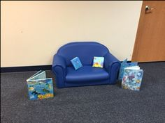 Reading area with ocean theme books.