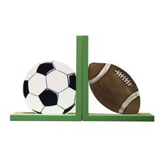 Furnistar Set of 2 Decorative Child's Wood Sports Bookends Soccer Ball