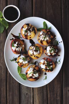 Grilled Peaches with Whipped Coconut Cream, Honey Balsamic Drizzle and Mint // Tasty Yummies