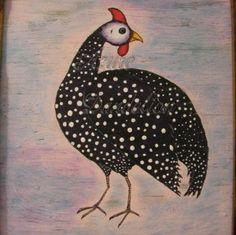 Primitive Folk Art Guinea Fowl Bird Original...