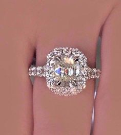 GIA CERTIFIED 2.50 Ct Cushion Cut Diamond Engagement Ring 18K White Gold #TheDiamondSpecialist #SolitairewithAccents #cushioncutring