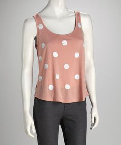 Take a look at this Antique Pink Polka Dot Tank by Love By Design on #zulily today!