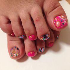 デコ Toe Nail Art, Toe Nails, Painted Toes, Toe Nail Designs, Nail Set, Women's Feet, Henna Art, Mani Pedi, Toe Rings